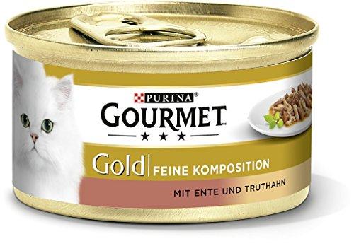 Purina Gourmet gouden fijne compositie kattenvoering, nat met eend en kalkoen, 12 stuks (12 x 85 g)