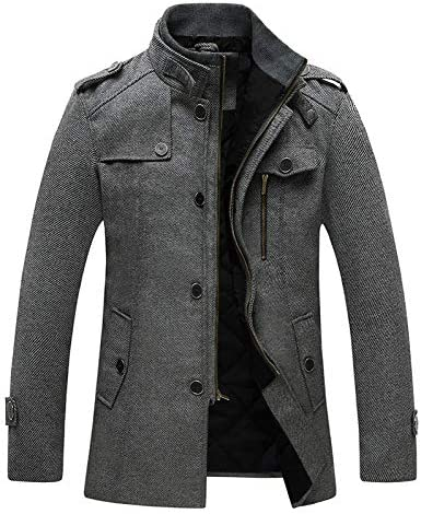 Wantdo Men s Long Military Winter Coat Windproof Wool Jacket Thick Grey X Large product image