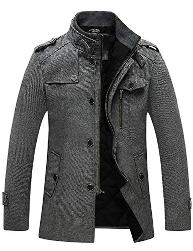 Wantdo Men's Long Military Winter Coat Windproof Wool Jacket Thick Grey X-Large