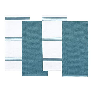 Sticky Toffee Cotton Terry Kitchen Dish Towel, Blue, 4 Pack, 28 in x 16 in