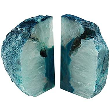 The Royal Gift Shop Genuine Brazilian Extra Quality Agate Bookends - Certified Mineral Guide Card Included. 6-9 lbs (Teal)