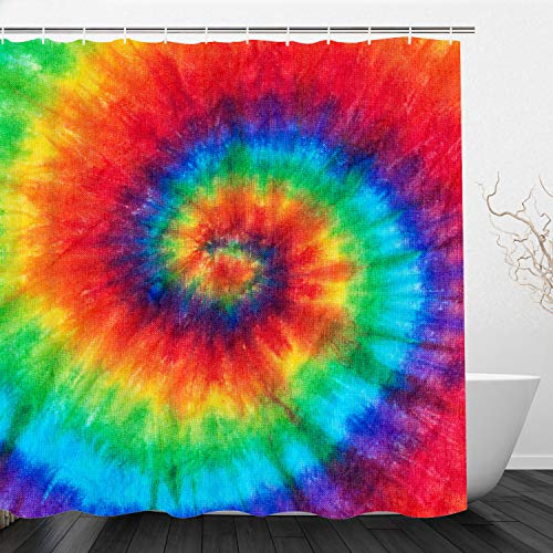 Regenbogen Batik-Duschvorhang, bunter Bohemian-Stil, Hippie-Mandala, wasserdichter Polyester-Stoff, Vorhang-Set mit Haken für Badezimmer-Dekoration, 183 x 183 cm