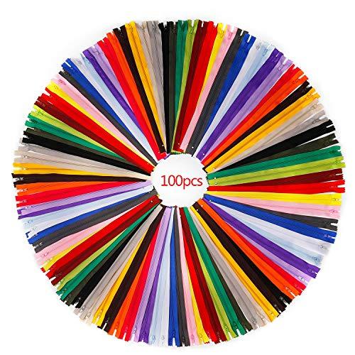 RZKJ-SHOP Reißverschlüsse Nylon Bunten Reißverschluss Bulk für Nähen Schneider Handwerk 100 Stücke/30cm Zippers mit Plastik Zähne Tasche Kleidung Ersetzen Zubehör (20 Farben)