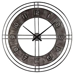 Ashley Furniture Signature Design - Ana Sofia Industrial Wall Clock - Casual - Antique Gray