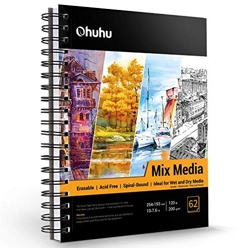 Mix Media Pad, Ohuhu 10'×7.6' Mixed Media Art Sketchbook, 120 LB/200 GSM Heavyweight Papers 62 Sheets/124 Pages, Spiral Bound Mixed Media Paper Pad for Acrylic, Watercolor, Painting Valentine's Day