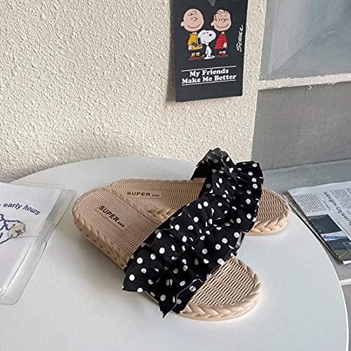 LDDZB Zapatillas Suaves de Punta Abierta EVA, Flaquis de Moda, Zapatos de Playa Antideslizantes Blandos-Black_39, resbalón en Zapatillas para Mujeres/Hombres (Color : Black 1, Size : UK5)