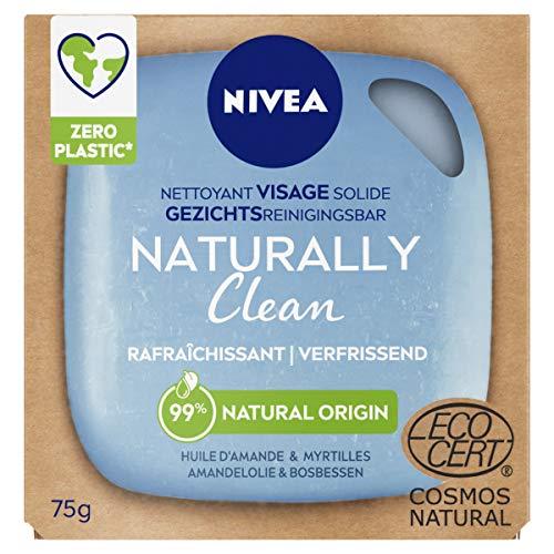 NIVEA NATURALLY Clean Nettoyant Visage Solide Rafraîchissant (1 x 75 g), Soin visage nettoyant sans savon ni parfum, Nettoyant solide au PH neutre pour la peau