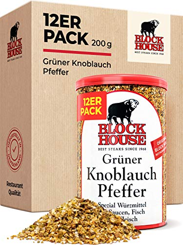 Block House Grüner Knoblauch Pfeffer Gewürzmischung 12x 200g - in Restaurantqualität