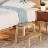 HOUCHICS Multi-Purpose Kids 2-Step Wood Step Stool with 260lb Load Capacity Wooden Bedside Step Stool Adults for Kitchen,Bathroom,Bedroom(Wooden)