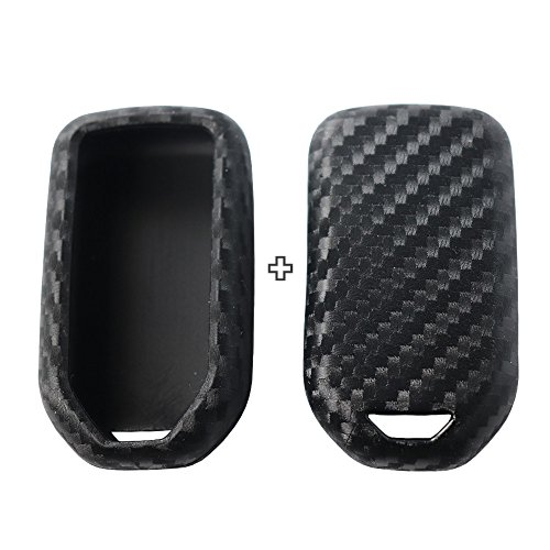2Pack Silicone Carbon Fiber Pattern car Key case Cover Keychain for Smart Honda Jazz Grace Civic Odyssey Accord XR-V CR-V Vezel City Element fcx Clarity insighe Pilot Ridge Accessories fob Shell Bag