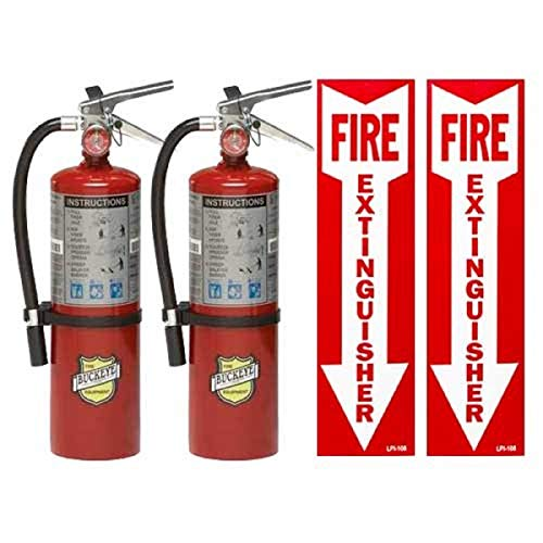 (Lot of 2) 10 Lb. Victory Type ABC Dry Chemical Fire Extinguishers with Wall Hooks, Signs and Inspection Tags
