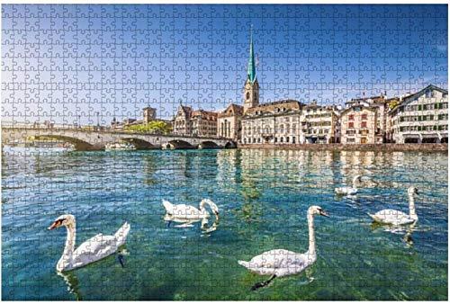Rompecabezas del lago de Lugano y la ciudad de Suiza para niños, adultos, juego educativo, rompecabezas, juguetes DIY, 500 piezas 52 * 38 cm
