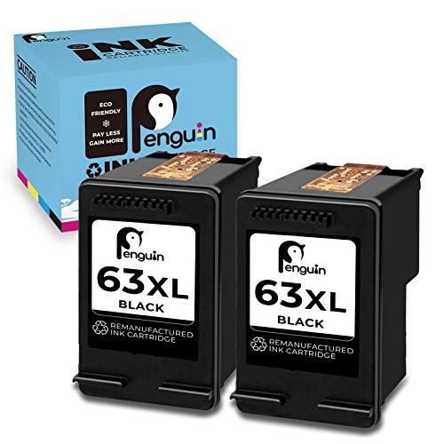Penguin Cartucho de tinta remanufacturado de repuesto para HP 63XL, 63 XL, utilizado para HP Deskjet Series: 1110 1111 Envy Series: 4510 4511 Officejet Series: 3830 3831 3832 3833 3834 (2 )