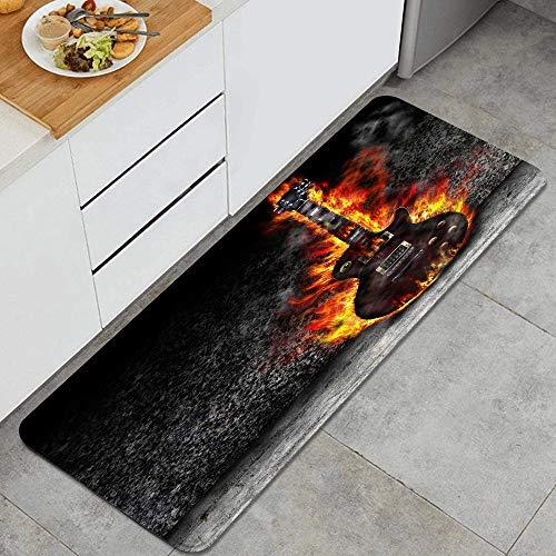QINCO Anti Fatiga Cocina Alfombra del Piso,La Guitarra ardiendo en la Vieja habitación,Antideslizante Acolchado Puerta Habitación Bañera Alfombra Almohadilla,120 x 45cm