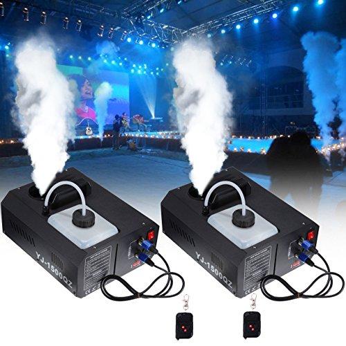 MuGuang 2 X 1500W DMX Vertikal-Nebelmaschine Rauchmaschine 2L mit Fernbedienung für Stage Wedding Disco DJ Bar Party Sprühen bis ca. 5m