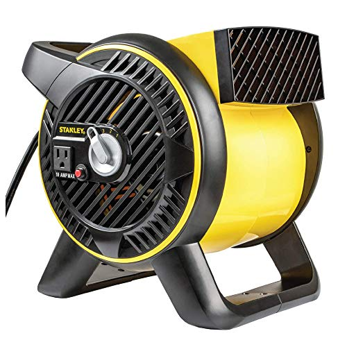 STANLEY Industrial High Velocity Blower Fan - Pivoting Blower Head, Accessory Outlet, 3 Speed Settings, Portable (ST-310A-120)
