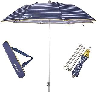EZPELETA Sombrilla terraza. Parasol/Sombrilla de Playa.Paraguas Sol Ligero y Plegable de Aluminio. 170cm. Protección Solar UPF 50+. Estampado Rayas/Marinero. Incluye Funda/Bolsa. - Rayas-Azul