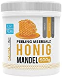 LivPuri Honig Mandel Körperpeeling 500g, aus Meersalz mit Jojobaöl, die ideale Körperpflege, anwendbar als Duschpeeling, Saunasalz, Badezusatz