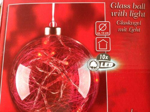 Weihnachtsglaskugel mit 10 LED Lichtern