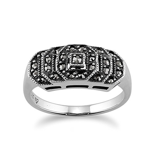 925 Sterling Silver Marcasite Art Deco Style Ring