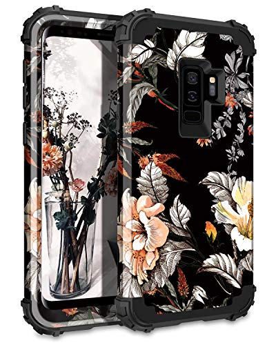 Casetego Compatible Galaxy S9 Plus Case,Floral Three Layer Heavy Duty Hybrid Sturdy Shockproof Full Body Protective Cover Case for Samsung Galaxy S9 Plus,Orange Flower/Black