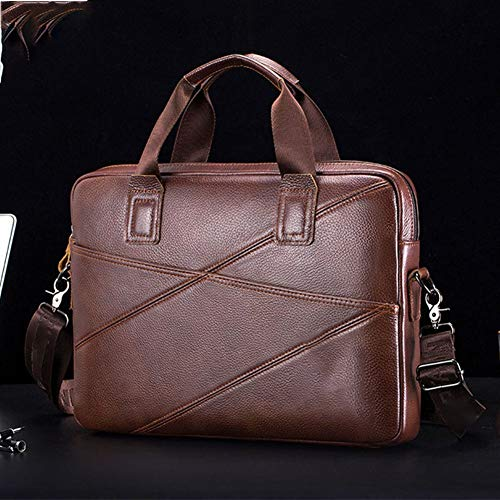 Y-hm fashion design Men's briefcase business handbag can be victimised for 15 inch laptop superficial shoulder messenger bags leather bag men Lightweight and durable (Color : Brown, Size : XL)