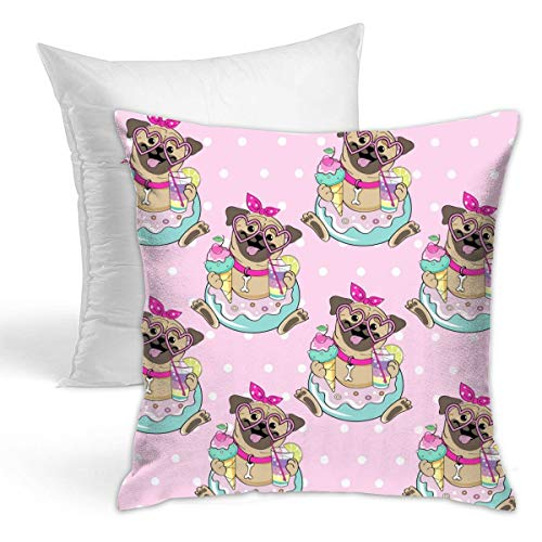 Lianmei Throw Pillow Cover Funny Pug Inflatable Donut Pillow Cases,Christmas Decorative Throw Pillow Covers Soft Comfortable Decorative Pillow Cover with Pillow Core.