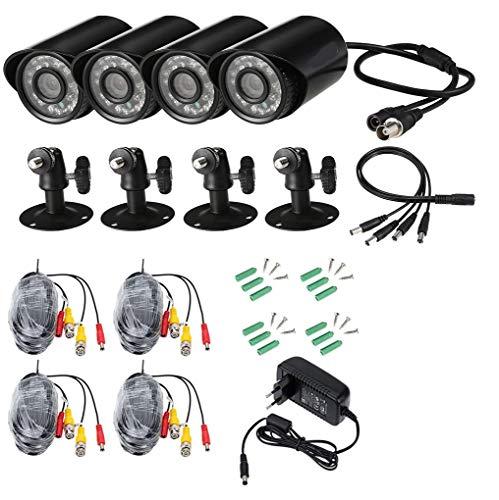 owsoo 4* 720P 1500TVL AHD CCTV cámara impermeable + 4* 60ft Cable de vigilancia soporte IR-CUT visión nocturna 24pz infrarosso lámparas 1/4pulgadas CMOS para Seguridad Doméstica PAL Sistema
