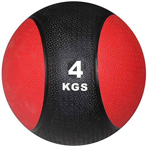 POWRX Balón Medicinal 4 kg - Ideal para Entrenamiento Funcional, Fisioterapia y Gimnasia - Relleno de Aire con Efecto Rebote + PDF Workout (Negro/Rojo)