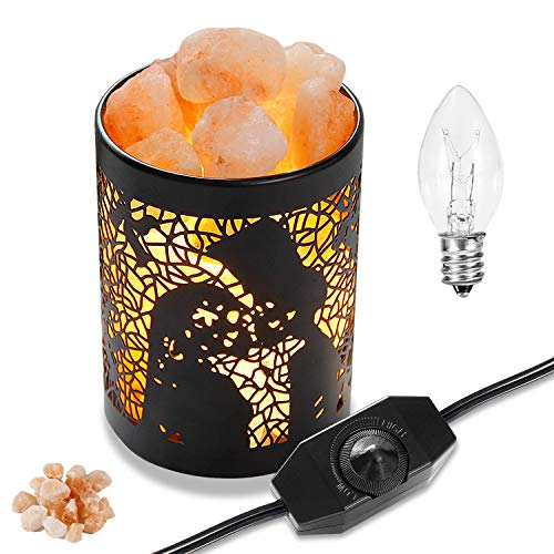 Himalayan Salt Lamps, OxyLED Natural Pink Salt Night Lights with Two Bulbs, Crystal Rock Salt Light in Metal Basket Lampshade with Dimmer Switch, Mothers Day Gift (3.15 x 4.33)