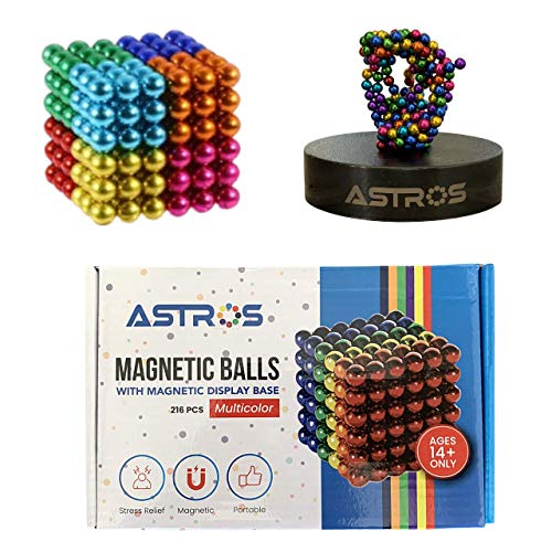 Astros Rare Earth Multi-Color 5mm Desktop Sculpture Fidget Magnet Balls with Magnetic Display Base for Office Desk Display or Stress Relief for Adults Science and Building Set for Classroom