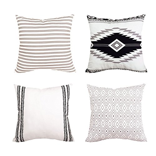 """Yastouay Modern Pillow Covers Boho Pillow Covers Decorative Throw Pillow Case Set Home Decor Cushion Cover for Sofa Couch Bed and Car 4 Packs (Simple Strings, 18""""x 18"""")"""