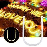 形状デザインLEDレター、光の装飾、記念日の告白のための省エネ高輝度誕生日パーティーホテルスクエア(Letter U)