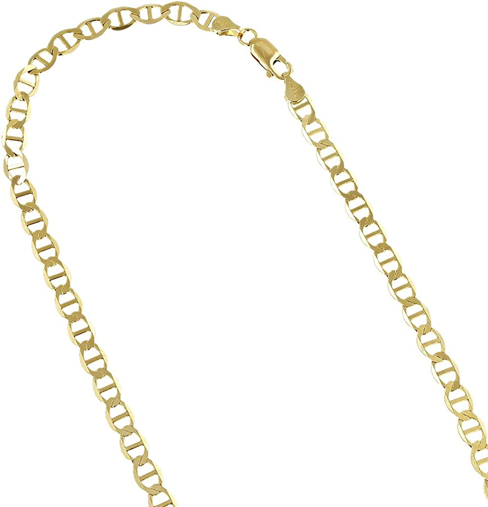 IcedTime 10K Yellow Gold Solid Flat Mariner Chain 4.5mm Wide Necklace,Bracelet with Lobster Claw Clasp