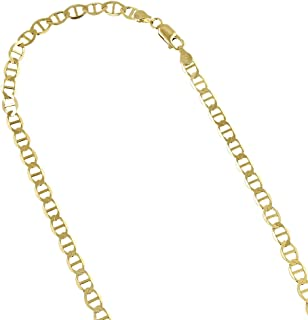 14K Yellow Gold Solid Flat Mariner Chain 4.5mm Wide Necklace or Bracelet with Lobster Claw Clasp