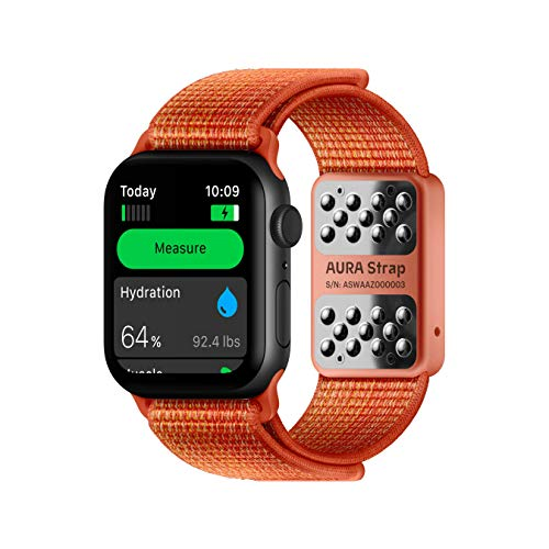 AURA Strap Body Composition and Hydration Level Fitness Tracker Band for Apple Watch Compatible, 42mm 44mm, Peach Red