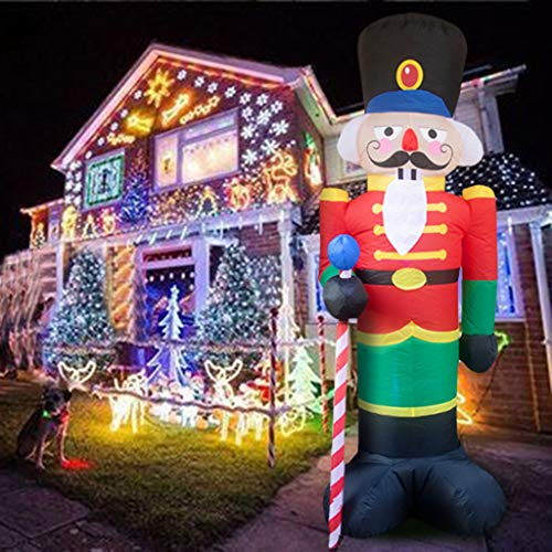 8 Foot Nutcracker Christmas Inflatable LED Light Up Decor Outdoor Holiday Decoration Blow Up Soldier Model Scene for Garden Indoor Porch Lighted Christmas Party