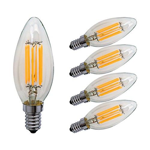 Sagel C35 E14 LED Kerze Leuchtmittel 6W, Entspricht 60W Glühbirnen, 2700K Warm Weiß Kandelaber E14 Leuchtmittel, Dimmbar, 600lm, Kleine Edison Schraube Kerze Lampen, 5er Pack