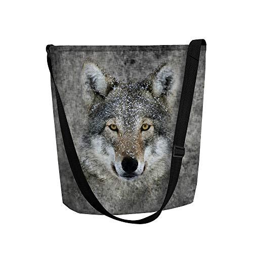 Arso Filztasche Funky Lupo Handtasche mit Motiv-Druck und Doppel-Innentasche Reißverschluss Filz Wolf