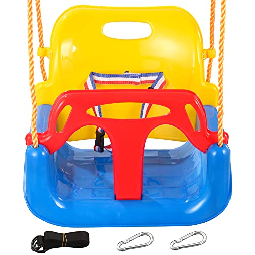 3 in 1 Kids Swing Seat with 2 Hanging Strap 2 Hooks Infants Toddler and Teens Full Bucket Swing Outdoor Playground