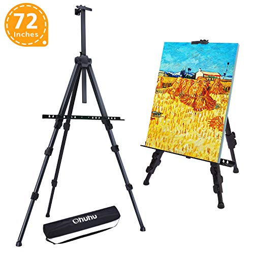 "Easel Stand, Ohuhu 72"" Artist Easels for Display, Aluminum Metal Tripod Field Easel with Bag for Table-Top/Floor/Flip Charts, Black Art Easels W/Adjustable Height 25-72"