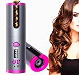 Cordless Auto Hair Curler, Automatic Curling Iron, Auto Rotating Ceramic Barrel Hair Curler,Portable Electric Wand Curling Iron,Recharger Auto Crimper Hair Waver with LCD Temperature Display