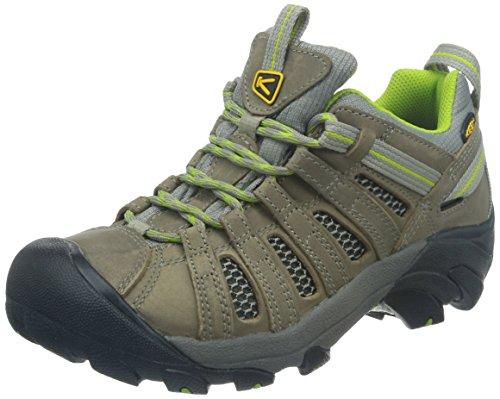 KEEN Women's Voyageur Hiking Shoe, Neutral Gray/Lime Green, 8.5 B - Medium
