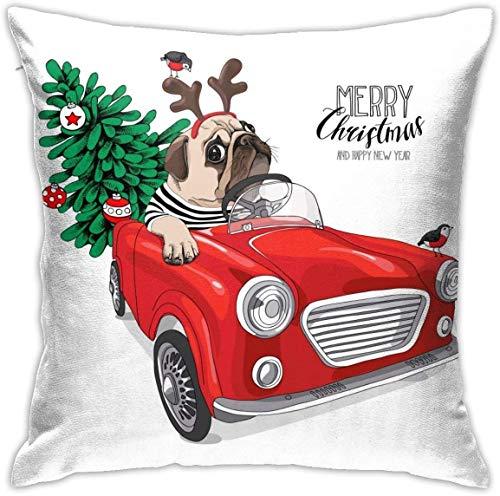 Weihnachten Mops Hund Strickjacke Hirsch Maske Red Car Throw Kissenbezüge Dekorative Home Sofa Dekorative 18'x18' Kissenbezug Fall Kissenbezug Quadratische Kissenbezüge für Home Sofa Schlafzimmer Woh