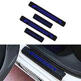 Para Antara Astra Corsa Insignia Mokka Vivaro Decoración Pegatina Para Estribos,Protección de pedal de umbral,Faldones laterales fibra de carbono,Evitar el desgaste 4Pieza Azul