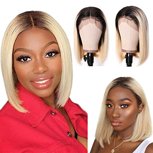 Nadula Straight Bob Wig 13x4 Lace Front Wig Black to Platinum Blonde Ombre Human Hair Wig Pre-Plucked Best Lace Wigs With Baby Hair 150 Density T1B/613# (10 Inch)