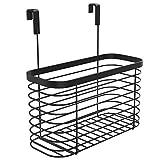 Lilipmact Metal Over the Cabinet Kitchen Storage Organizer Basket for Kitchen Pantry, Cleaning Supplies (Black)