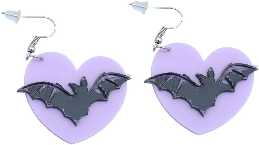 1 Pair of Women Ear Stud Decorarive Bat Wings Heart Dangle Earrings Ear Jewelry Accessories for Girls Dating (Violet and Black) Decor for Celebration Party