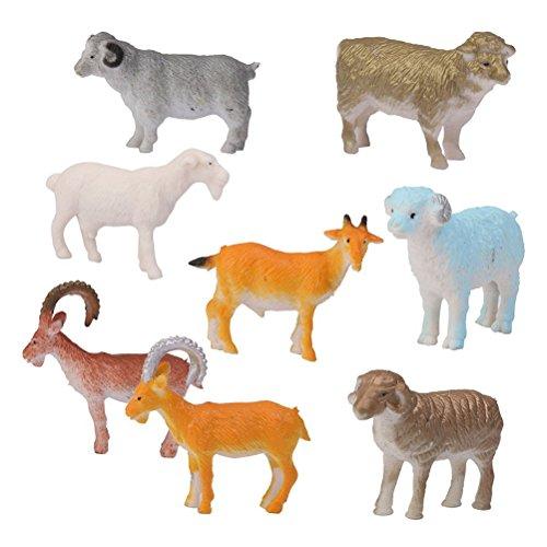 ROSENICE 8pcs Figurines Animaux de la Ferme Mouton Chèvre Brebis Figurine Jouet