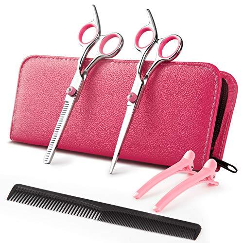 Haarschneidschere, professionelles Friseurhaar, japanisches Edelstahl, Effilierschere, Pink